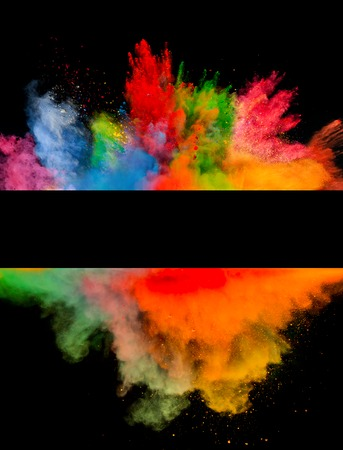 colorful: Freeze motion of colored dust explosion isolated on black  Stock Photo