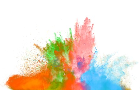 explode: Freeze motion of colored dust explosion isolated on white background Stock Photo