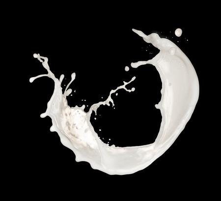 spilled paint: Studio shot of milk splash isolated on white