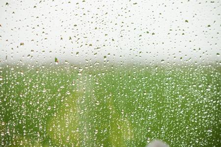 gotas de agua: Detalle de las gotas de lluvia sobre el cristal de la ventana, la baja profundidad de foco