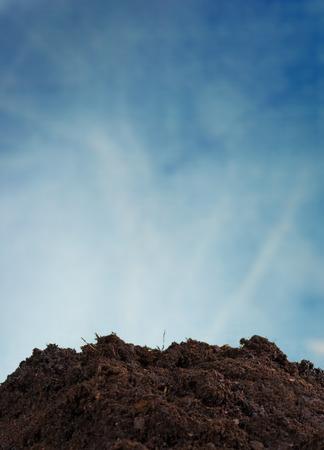 molehill: Pile of soil with blue sky