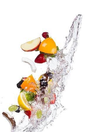 mix fruit: Mix of fruit with water splashes isolated on white background
