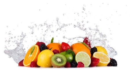 Mix of fruit with water splashes isolated on white background