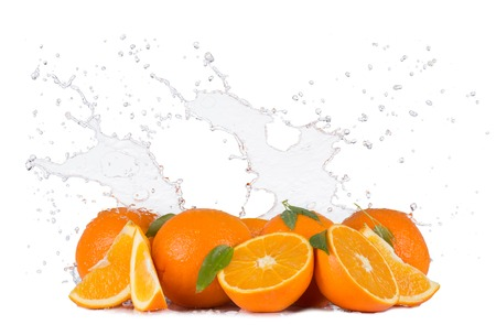 fruit in water: Fresh oranges with water splashes isolated on white background