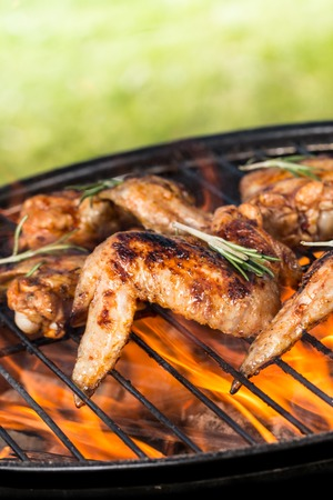 poultry: Chicken wings on grill Stock Photo