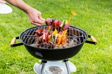 shishkabab: Delicious meat on grill