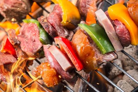 shishkabab: Skewer on grill