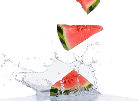 water melon: Fresh water melon in water splash isolated on white backround Stock Photo