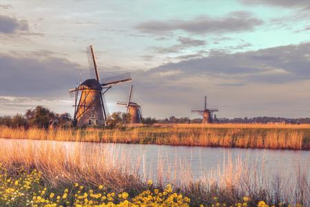windy energy: Windmills in Kinderdijk, Netherlands in morning sun