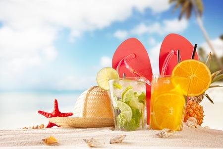 beach summer: Summer beach with accessories.