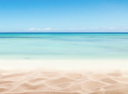 Empty sandy beach with sea. Free space for text or product placement