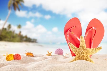 付属品夏のビーチ。紺碧の海の背景をぼかし