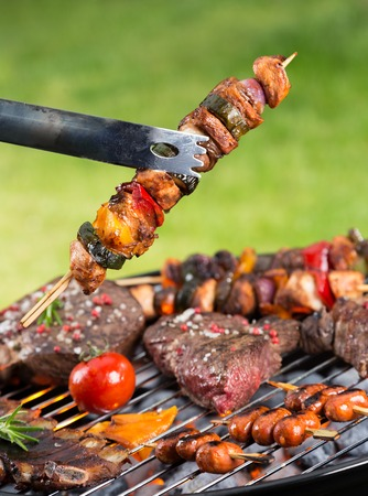 shishkabab: Delicious vegetable and meat skewer on grill. Barbecue on garden