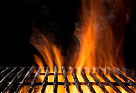 flame: Empty grill grid with fire flames, isolated on black background