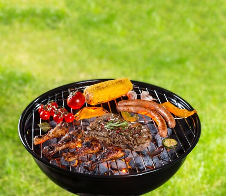 barbecue pork barbecue: Barbecue grill with various kinds of meat. Placed on grass