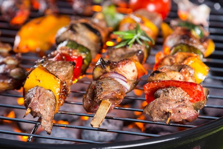 shishkabab: Delicious vegetable and meat skewer on grill Stock Photo