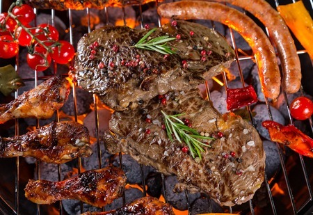 Close-up of delicious kinds of grilled meat