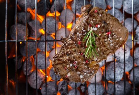 Beef steak roasted on grill