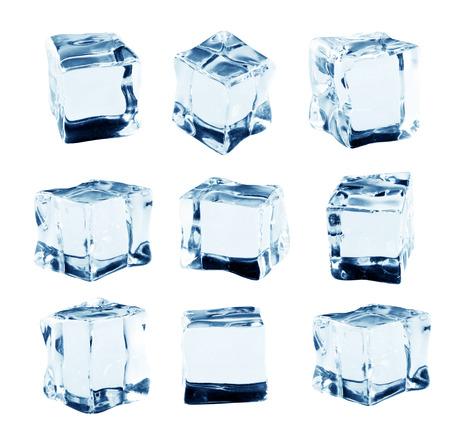 liquid reflect: Set of ice cubes, isolated on white background
