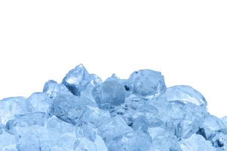 refrigerate: Group of melting ice cubes isolated on white background Stock Photo