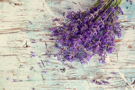 wooden board: Lavender blossoms on wood
