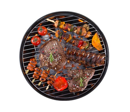 meat grill: Garden grill with meat and vegetable, isolated on white background Stock Photo