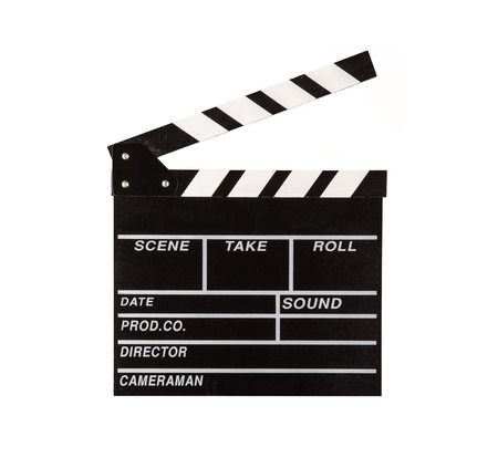 clapper board: Film clapper isolated on white background