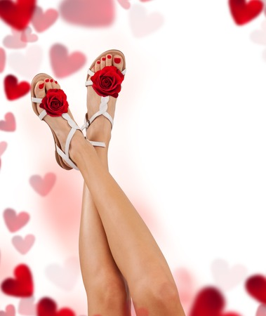 red shoes: Perfect female legs with rose and hearts, isolated on white background