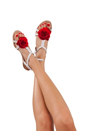 sandals isolated: Perfect female legs with rose summer sandals, isolated on white background