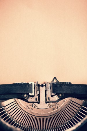 Detail of vintage typewriter with blank paper for text Stok Fotoğraf