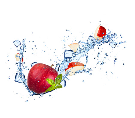 Fresh fruit in water splash, isolated on white background