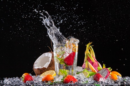 Fruit cocktail with splashes Stock Photo