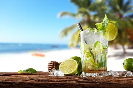 summer beach: Summer cocktail on beach