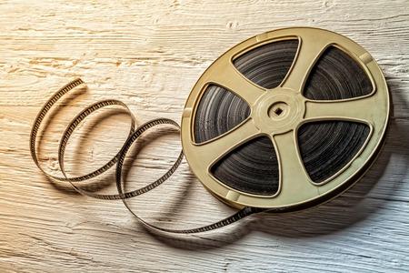 Film vintage roll op houten tafel Stockfoto