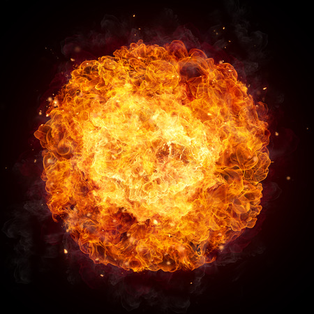 Hot fires flames in rounded shape, isolated on black background Banco de Imagens