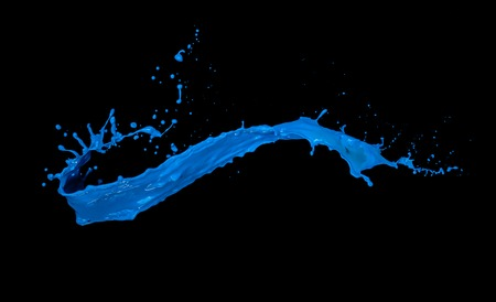 blue paint splash isolated on black background