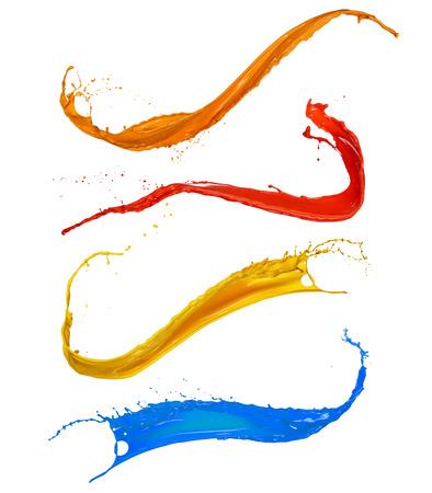 Gekleurde verf spatten verzamelen, geïsoleerd op een witte achtergrond