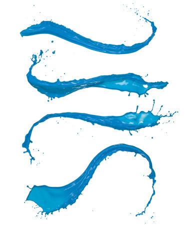 La pintura azul salpica la colección aislada en el fondo blanco Foto de archivo
