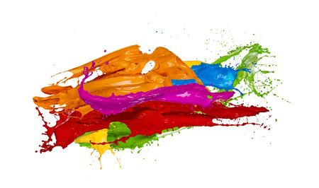 paint: Colored paint splashes isolated on white background