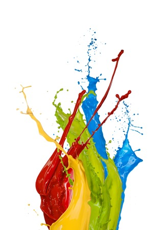 light color: Colored paint splashes isolated on white background