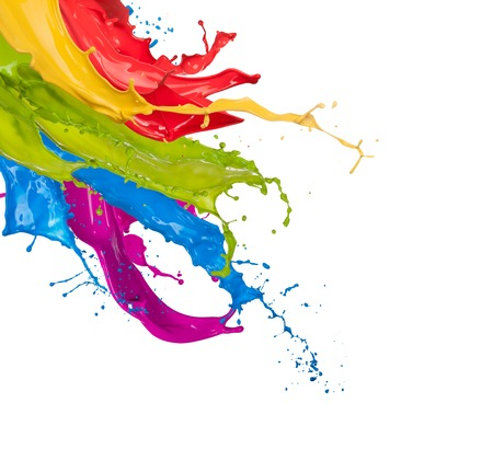 brush paint: Colored paint splashes isolated on white background