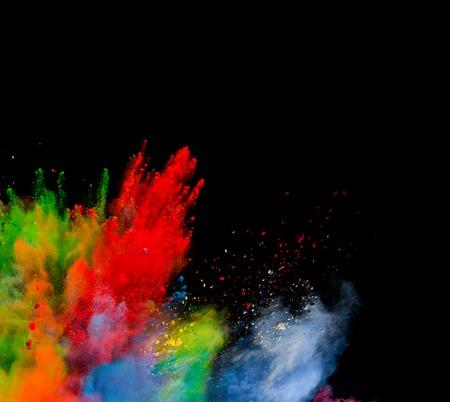 黒い背景に抽象的な色粉形状の分離ショット 写真素材 - 44069550