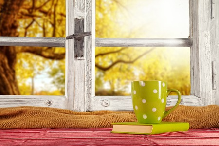 casa de campo: Vintage árboles ventana mirador otoño de madera, disparó desde el interior rural con la taza de té y libro Foto de archivo