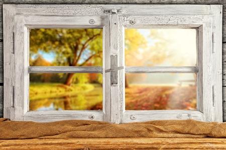 interior shot: Vintage wooden window overlook autumn trees, shot from cottage interior