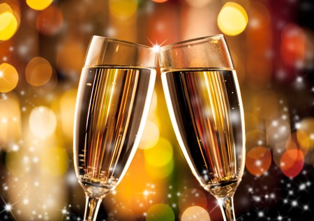 eve: Glasses of champagne in holiday setting, served on bar counter