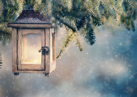 Christmas lantern hanging on fir branches at night Stock Photo