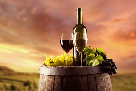 Red and white wine bottle and glass on wooden keg. Vineyard on background Foto de archivo