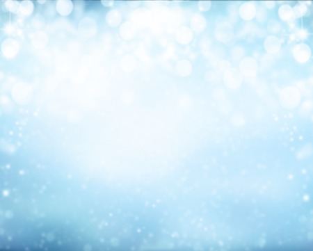 blue light: Abstract snowy blur winter background with spotlights Stock Photo