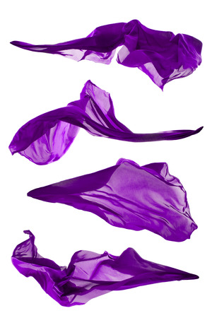 Isolated shots of freeze motion of purple transparent silk, isolated on white background