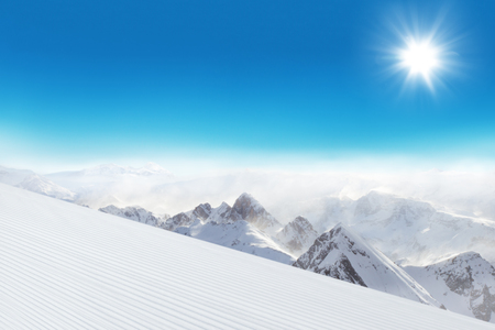 snowy mountains: Ski slope in Dolomites mountains Stock Photo